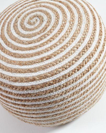 Puf Saht Ø 50 cm blanco y natural