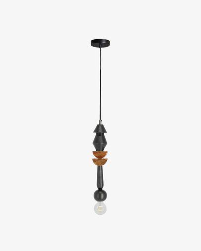 Lámpara de techo Jellis con 2 semicírculos de madera
