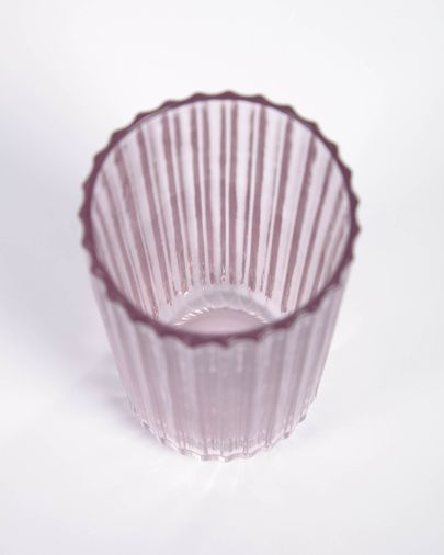 Vaso grande Savelia de vidrio rosa claro