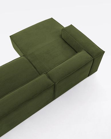 Blok 3-seater sofa with left-hand chaise longue in green thick corduroy 330 cm