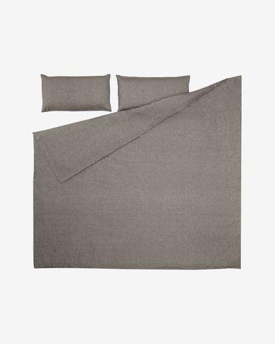 Komplet Eglantina prześcieradło i poszwa na kołdrę i poduszkę bawełna szary 240 x 220 cm