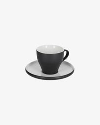 Sadashi porcelain coffee cup and saucer in black and white