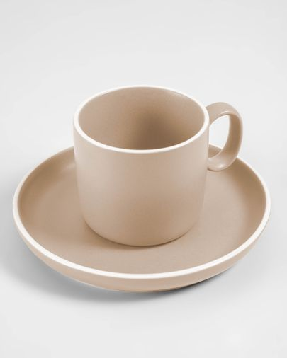 Shun coffee cup and saucer in beige porcelain