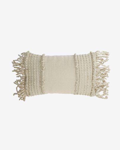 Funda cojín Marcie de algodón y lana blanco 30 x 50 cm