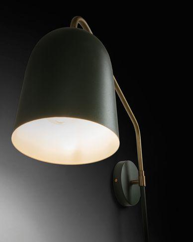 Stalen wandlamp Audrie met groene afwerking