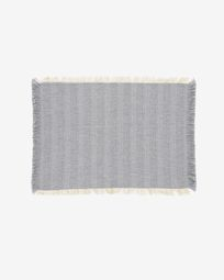 Aicha set of two 100% cotton tablecloths with beige and blue fringe 35 x 50 cm