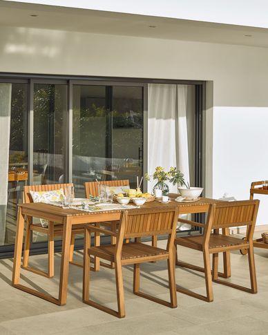 Emili solid acacia garden table, 190 x 90 cm FSC 100%