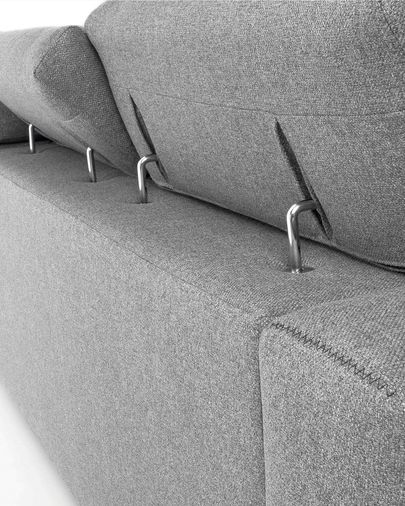 Atlanta hellgraues 3-sitzer Sofa mit Chaiselongue 290 cm