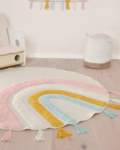 Thaide cotton multicoloured circular rug Ø 100 cm