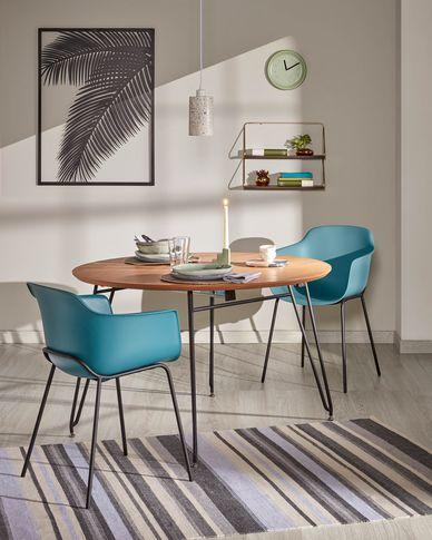 Novac ausziehbarer runder Tisch Ø 120 (200) mit Eichenfurnier und schwarzen Stahlbeinen