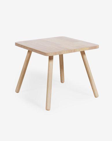 Stół Dilcia kwadratowy z litego drewna kauczukowego 55 x 55 cm