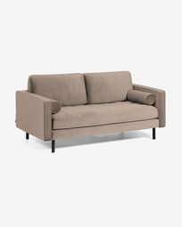 Taupe velvet 2 seaters Debra sofa 182 cm