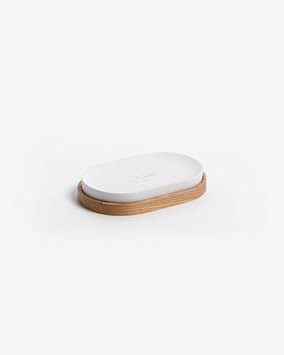 Elora white and beech soap dish