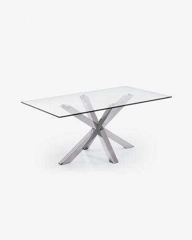 Tavolo Argo 160 cm cristallo gambe in acciaio inox