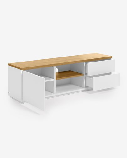 Mueble TV Abilen chapa roble y lacado blanco 150 x 44 cm