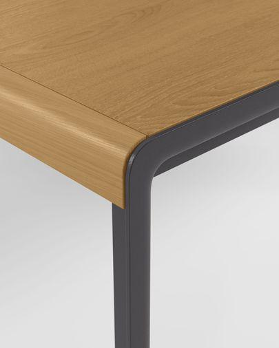 Mesa extensible Nadyria chapa de roble patas de acero acabado negro 160 (200) x 90 cm