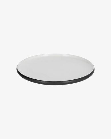 Sadashi flat porcelain plate in black and white