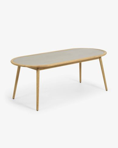 Nina round table made from poly cement and solid eucalyptus wood Ø 200 x 90 cm FSC 100%