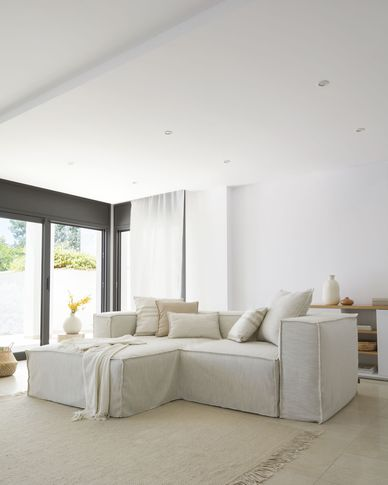 Blok 2-seater sofa with left-hand chaise longue and removable covers in white linen 240cm