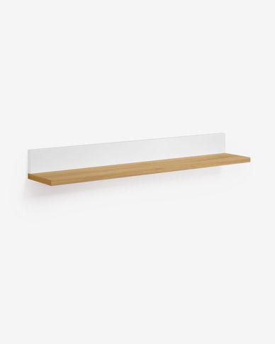 Estante Abilen chapa roble y lacado blanco 80 x 9 cm