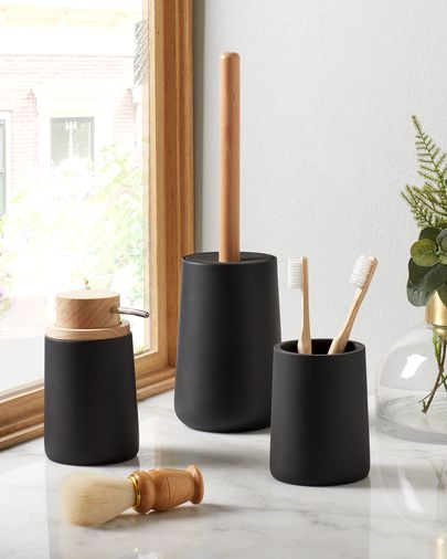 Jenning black and beech wood soap dispenser