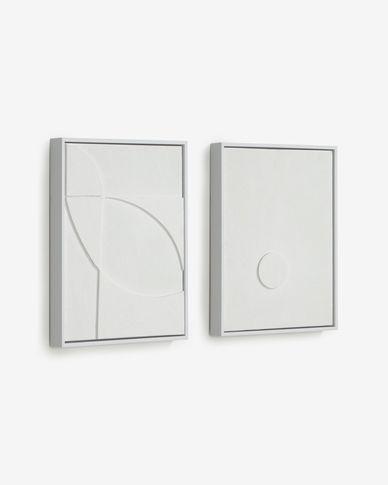 Kunstwerk Brunella met wit met gouden rechthoeken 32 x 42 cm