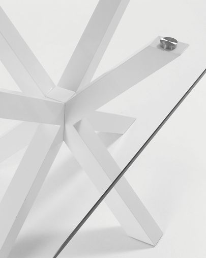 Taula Argo 160 cm cristall potes blanc