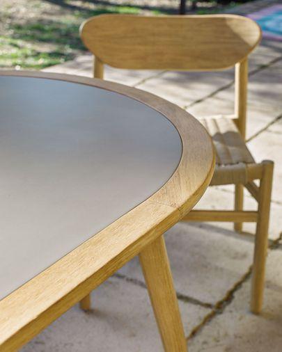 Taula rodona Nina ciment i fusta massissa eucaliptus Ø 200 x 90 cm