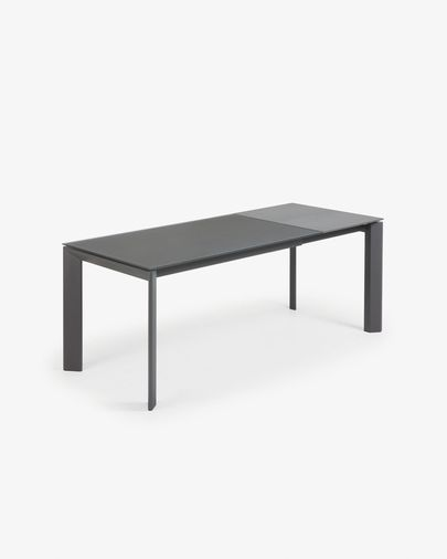 Extendable table Axis 140 (200) cm gray glass graphite legs