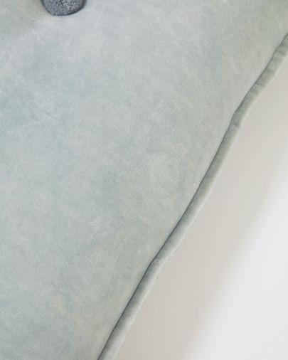 Cojín Brunetta de terciopelo turquesa claro 35 x 50 cm