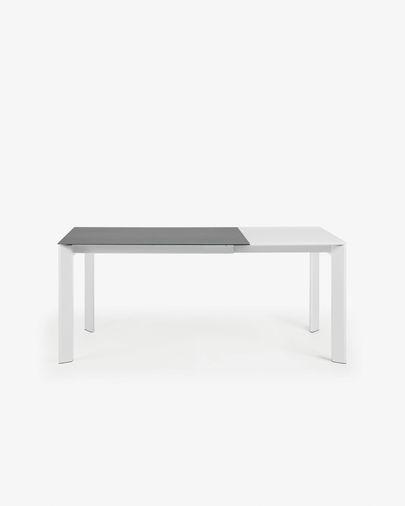 Mesa extensible Axis 120 (180) cm porcelánico acabado Vulcano Roca patas blanco