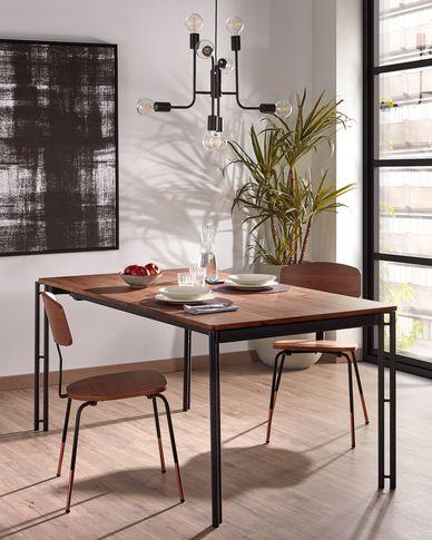 Kesia ausziehbarer Tisch 160 (220) x 90 cm mit Walnussfurnier und schwarzen Stahlbeinen