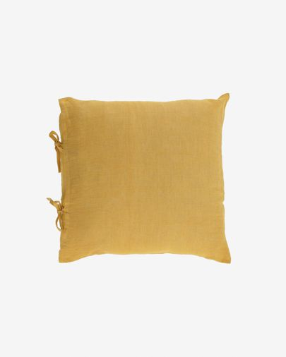 Tazu 100% linen cushion cover in mustard 45 x 45 cm
