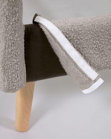 Dyla Bett aus hellgrauem Schaffell und Beinen aus massivem Buchenholz 160 x 200 cm