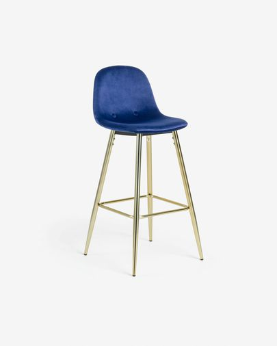 Blue fabric Nolite barstool height 75 cm
