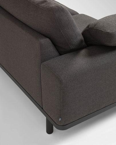 Noa 3-Sitzer Sofa mit grauen Kissen und Beinen in dunklem Finish 230 cm