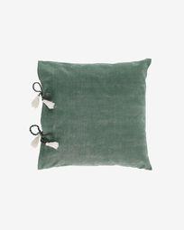 Varina 100% cotton cushion cover in green 45 x 45 cm