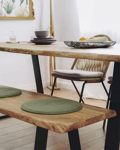 Banco Alaia 160 x 45 cm  madera maciza de acacia y acero acabado negro