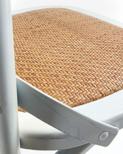 Silla Alsie de madera maciza de olmo con acabado blanco