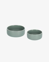 Set of large and small Shun bowls in green porcelain