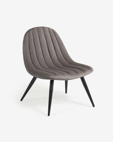 Sedia Marlene in velluto grigio con gambe in metallo con finiture nere
