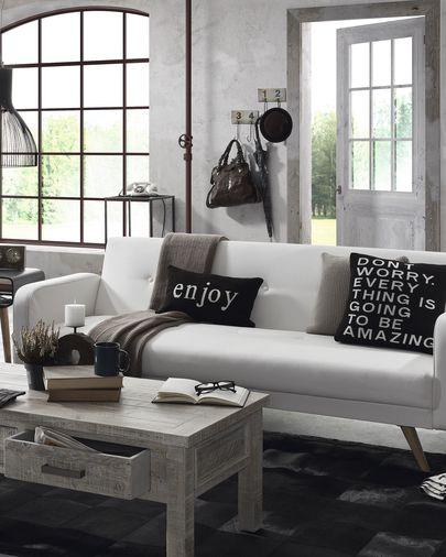 Divano letto Roger 210 cm bianco