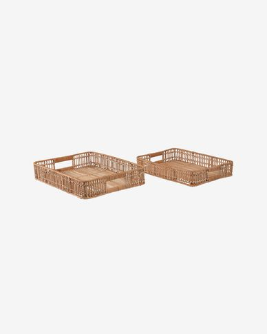 Coleenn set of 2 rectangular trays in 100% rattan with natural finish