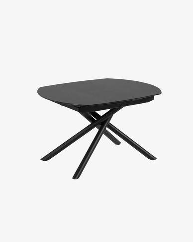 Mesa extensible Yodalia 130 (190) x 100 cm cristal patas de acero con acabado negro