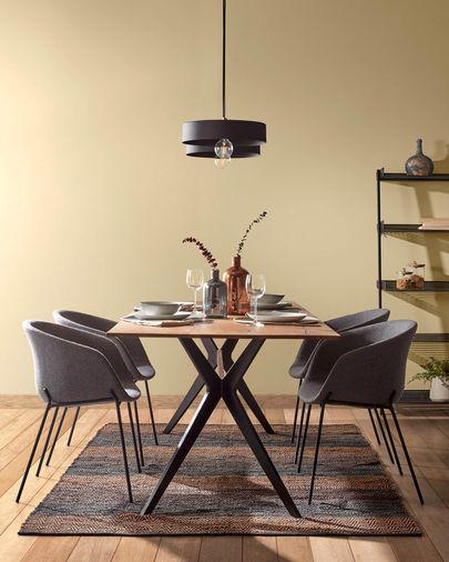 Mesa Amethyst 160 x 90 cm madera maciza roble envejecido patas acero acabado negro