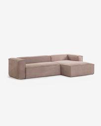Blok 3-zits bank met chaise longue rechts corduroy roze 300 cm