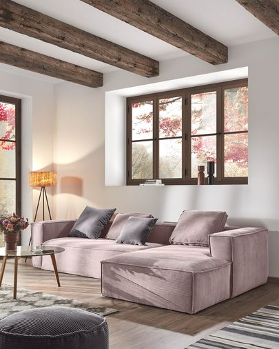 Blok 3-seater sofa with right-hand chaise longue in pink corduroy, 300 cm