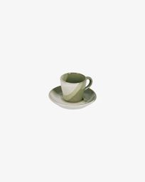 White and green Naara coffee cup with plate