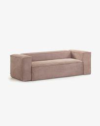 Blok 2-seater sofa in pink corduroy, 210 cm