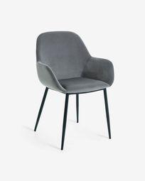 Grey velvet Konna chair